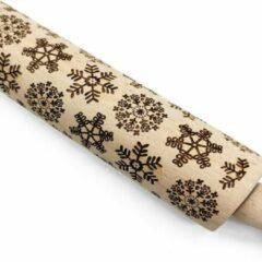 Bruine Waterval Deegroller Kerst print Sneeuwvlok- Koekjes roller kerst decoratie Sneeuwvlok - Beukenhout 39cm