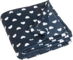 Playshoes fleecedeken hartjes 75 x 100 cm donkerblauw