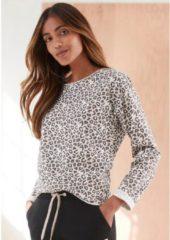 Naturelkleurige LASCANA Sweatshirt, met open zoomranden