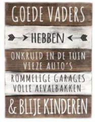 """Naturelkleurige Woodart Houten Tekstplank / Tekstbord 40x30cm """"Goede Vaders...."""" - Kleur Naturel en Antique White"""