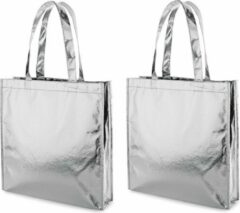Merkloos / Sans marque 3x Gelamineerde boodschappentassen/shoppers zilver 34 x 35 cm - Non-woven gelamineerde tassen met 50 cm handvatten