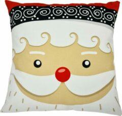 Decolenti Kerstman Close Up   Kerst Kussen   Rood   Wit  Zwart   Sierkussenhoes   Super Zacht   Wasbaar   Decoratie   45cm x 45cm