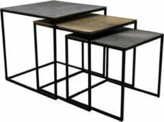 HSM Collection Salontafel Fletcher Vierkant - 48x48x45 - Zilver/Goud/Grijs - Aluminium/Ijzer