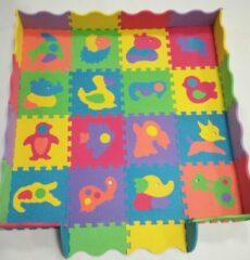 Buxibo 25 Delige Speelmat - Kinderpuzzel - Puzzelmat Dieren met Opbergtas