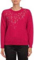 Rosso BOUTIQUE MOSCHINO Maglia In Lana Vergine Con Zip E Borchie A Forma Di Stelle Metalliche