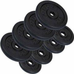 Zwarte ScSPORTS® Halterschijven 30 kg - 4 x 5 en 4 x 2,5 kg - Gietijzer - boring 30 mm - Gewichten