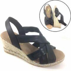 Stravers Grote Maten Schoenen Stravers - Zwarte Sandalen met Sleehak Maat 43 Espadrilles Grote Maten