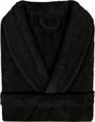 Pure Duplex Badjas Badstof Uni Pure Royal met Shawlkraag Zwart col 3 Maat S