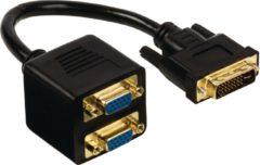 Zwarte Cablexpert Passieve DVI - VGA x 2 splitterkabel, 0,3 m