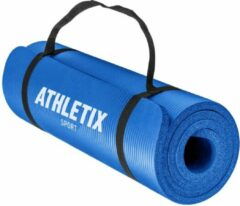 Athletix® Premium NBR Fitnessmat - 183 x 61 x 1 cm - met Draagriem en Draagtas - Blauw