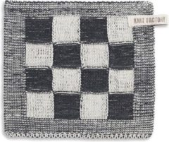Antraciet-grijze Knit Factory Pannenlap Block - Ecru/Antraciet