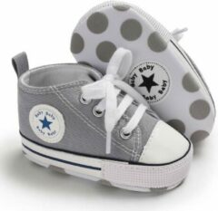 Merkloos - Kieshop Grijze gympen met 'baby ster' logo | schoenen | baby jongens meisjes | antislip zachte zool | 0 tot 6 maanden | maat 18 | baby accessoires
