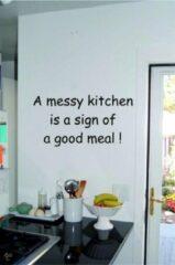 Kimano Muurtekst A messy Kitchen Zwart
