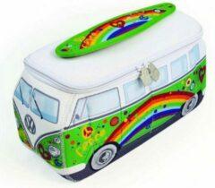 VW Collection - VW T1 Bus 3D Neopren Universaltasche - Toilettas maat 30 x 14 x 12 cm, grijs/wit/groen