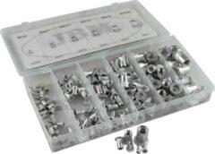 JBM Tools | Assortiment van aluminium geribbelde moeren voor klinknagels 150-Delig