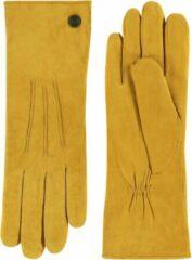 Gouden Laimböck Suède handschoenen dames met drie opnaden model Boretto Color: Mustard gold, Size: 7.5