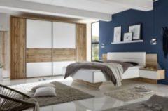 Schlafzimmer mit Bett ( 180 x 200 cm ) und Kleiderschrank ( Breite ca.: 312 cm ) Weiss / Wildeiche PolPower San Marino