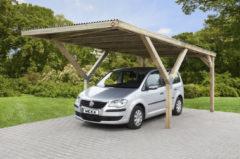 Bruine Weka Enkele Y-Carport Variant 2 met verzinkt staal dak