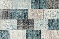 LIFA LIVING Vintage Vloerkleed, Donkergrijs en Blauw Tapijt, Geruit Vloerkleed, Patchwork Vloerkleed voor Woonkamer, Slaapkamer, 133 x 200 cm