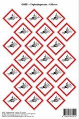 Rode Stickerkoning Pictogram sticker GHS01 - Explosiegevaar - 50 x 50mm - 21 stickers op 1 vel