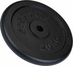 Zwarte ScSPORTS® Halterschijf 20 kg - Gietijzer - 30 mm - Krachttraining - Gewichten