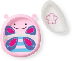 Paarse Skip hop Zoo Smart serve Plate & Bowl Set - Butterfly