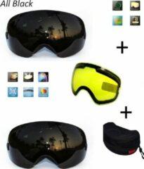Improducts Ski bril met box en EXTRA lens Smoke Zwart frame Zwart F type 8 Cat. 0 tot 4 - ☀/☁