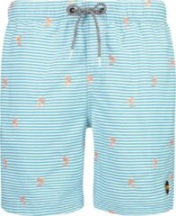 Blauwe Shiwi Men Swim Short Striped Palm - matinique blue - m