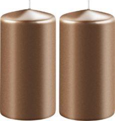 Enlightening Candles 2x Metallic koperen cilinderkaarsen/stompkaarsen 6 x 12 cm 45 branduren - Geurloze kaarsen metallic koper - Woondecoraties