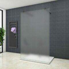 Sanexo Inloopdouche Vrijstaand White Dahlia 100x200cm 10mm Gesatineerd Glas Antikalk Mat Zwart