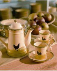 Milchkaffee Obertasse Hahn und Henne Zeller Keramik Mehrfarbig
