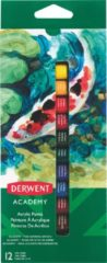 Derwent acrylverf Academy , 12 ml, blister van 12 tubes in geassorteerde kleuren