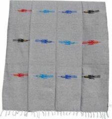 Handgeweven uit Mexico Mexicaanse deken - plaid - Indiaans motief - gerecycled acryl - 200 x 125 cm - Grijs - QEXZZ0grey