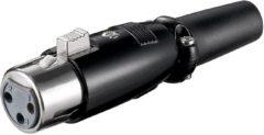 Zwarte XLR 3-pins connector (v) / rubberen trekontlasting - zwart