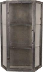 Zilveren Clayre & Eef Wandkast 5Y0620 49*19*75 cm - Bruin Metaal / glas Opbergkast Hangkast