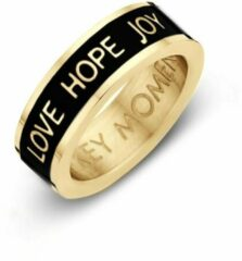 Key moments 8KM-R0002-52 Stalen Ring - Dames - Zwart - Emaille - LOVE HOPE JOY - Maat 52 - Staal - Gold Plated
