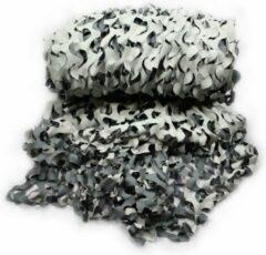 Fosco Industries Voordeelset van 2x stuks camouflagenetten grijs/zwart/wit van 3 x 2,4 meter 100% waterafstotend en brandvertragend
