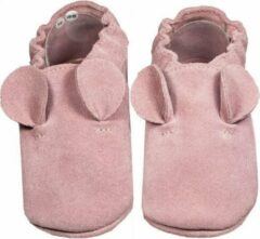 Hobea Babyslofjes suede roze met oortjes (Kruip)