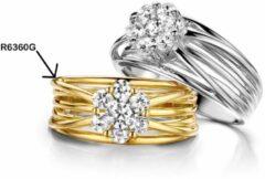 Goudkleurige Velini jewels -R6360G-48 -Ring -925 Zilver verguld -Cubic Zirkonia