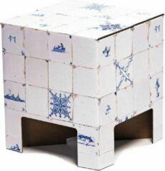 Creme witte Dutch Design Brand kartonnen krukje - Uitvoering - Tegeltjes - Dutch Tiles