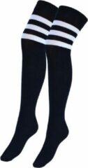 Donex 2 Paar overknee kousen - Katoen - zwart met witte sterpen- Maat 36-40