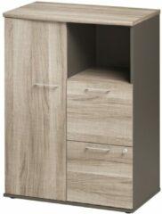Gamillo Furniture Boekenkast Jazz 114 cm hoog in grijs eiken met grijs