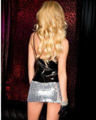EDC gecensureerd Music Legs - Wetlook Mini Jurkje Met Zilveren Pailletten - Zwart/Zilver, One Size - Jurk, wet look, dames mode, vrouwen kleding, spannend, sexy, pikant, speels, pakje, pak, kostuum, uitdagend