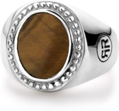 Rebel & Rose Rebel and Rose RR-RG017-S Ring Women Oval Tiger Eye zilver-bruin Maat 56