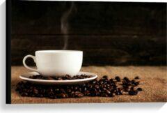 Beige KuijsFotoprint Canvas - Kopje Koffie met Koffiebonen - 60x40cm Foto op Canvas Schilderij (Wanddecoratie op Canvas)