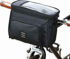 Zwarte Telestore Koeltas voor aan de fiets - Fiets tas stuurtas met smartphone houder – waterdicht – Fiets tas stuur – Smartphone houder fiets – T/M 6.5 inch
