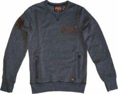 Zwarte Superdry zachte sweater black grit met 2 ritszakken - Maat S