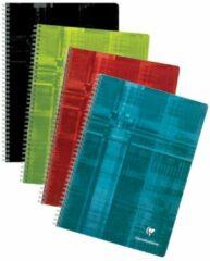 Clairefontaine schrift ft A4, 180 bladzijden, geruit 5 mm, spiraalbinding, geassorteerde kleuren
