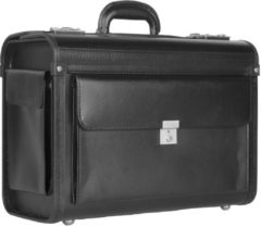 Dermata Business Leather Pilotcase zwart Pilotenkoffer