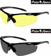 Zwarte Combinatievoordeel Polar Specs® Polariserende Nachtbril + Polariserende Zonnebril Velocity Sport PS9041 – Black – Polarized – Medium – Unisex